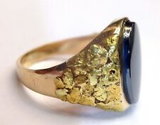 Fabulous! Raw 24K Gold Nugget Applique Hematite 18K Gold Men's Ring Size 8.75