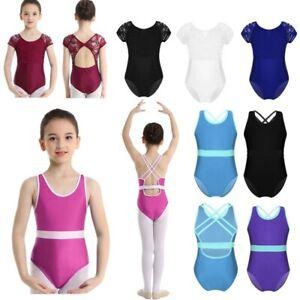 Girls Kids Ballet Jumpsuit Gymnastics Leotard Dance Unitard Bodysuits Dancewear