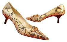 NEW MICHAEL KORS GOLD SNAKE LEATHER CHAIN LOGO POINTY TOE KITTEN HEEL PUMPS 6