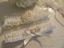 WEDDING GARTER SET 2 IVORY SATIN - RHINESTONE MOTIF & DIAMANTE HEART-FREE POUCH