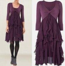 Phase Eight Kells Purple Plum Silk & Jersey Dress UK 12-14 M Steampunk Ruffle