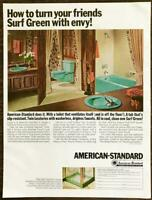 1966 American-Standard Bathrooms PRINT AD Turn Your Friends Surf Green With Envy