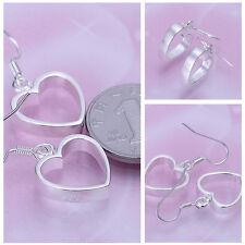 New Nice Fashion Slilver Love Heart Womens Hoop Hook Dangle Earrings