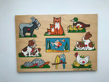 Vintage Simplex Wooden Puzzle with Pegs Made in Holland//Pet Animals//VGC