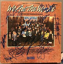 """We Are the World signed 12"""" lp lionel richie cyndi lauper billy joel huey lewis"""