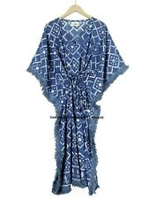 Anokhi Indigo Cotton Kaftan Block Printed Indian Night Gown Kimono Maxi Dress