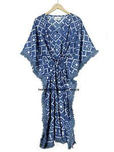 Anokhi Indigo Cotton Kaftan Block Printed Indian Night Gown Kimono Maxi Dress