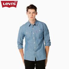 Levi's Men Blue Chambray Cotton Long Sleeve Cowboy Shirt  Size S