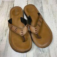 Clarks Men Size 10 Brown Leather Flip Flop Sandal