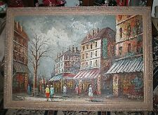Bernard painting large oil on canvas city streets 40X28 inches