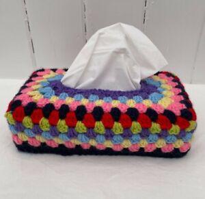 "Tissue Box Cover Crochet Vintage Boho Retro Style Rectangle 2.5"" Deep Handmade"