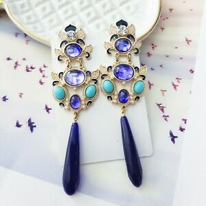 Statement Vintage Gold & Purple Crystal Pearl Drop Cocktail Chandelier Earrings