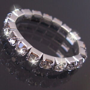 Toe Ring Silver Plated Toes Foot Stretchy Jewellery Ladies Rhinestone R1133