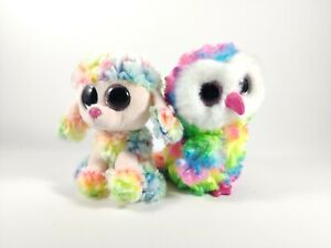 Ty Beanie Boo Owen (Tags) & Rainbow Colourful Owl & Poodle approx 6in/15cm