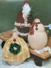 "PRIMITIVE FOLK ART CLOTH SANTA SNOWMAN ANGEL DOLL SEWING PATTERN CRAFTS, 4-51/2"""
