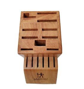 JA HENCKELS Wooden Oak Hardwood Knife Block 16 Slot Holder