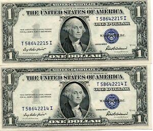 2- 1935  $1 One Dollar Silver Certificate   CONSECUTIVE   CRISP UNC  42215