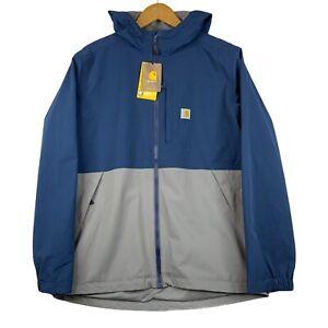 Carhartt Storm Defender Rain Jacket Midweight Hooded Loose Fit Mens M Blue Grey