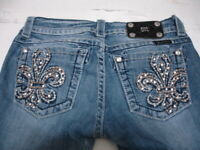 MISS ME Denim Women's Embellished Stretchable Mid Rise Boot Cut Jeans Size 27