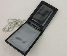 Black Leather Badge ID Card Wallet Holder Case With Neck Chain -BK