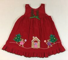 Little Girl Vintage Christmas Red Dress Sleeveless Red Size 5 Holiday Smock