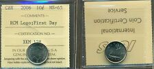 """2006 Canada 10 cent Certified ICCS MS-65 """"RCM Logo; First Day"""""""