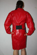 New RED Leather Jacket & Skirt 2-Piece Sz US 4 / UK 8 Suit by GINGETTE Israel