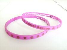 "Animal Rescue Charity Wrist band ""PAWS"" Purple New cute Bracelet wristband * NEW"