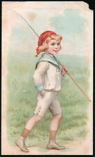LION COFFEE Picture #11 Boy with Fishing Pole Vtg Victorian Trade Card Old Ad