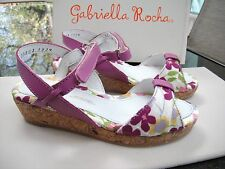 "Gabriella Rocha ""Ethelred"" Girls Lilac Floral Wedge Sandals Size 9.5 -New-"