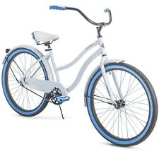 """Huffy 26"""" Cranbrook Women's Cruiser Bike with Perfect Fit Frame white blue"""