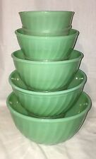 """Fire King SWIRL JADEITE* 5 pc MIXING BOWLS* BEAUTIFUL* INCLUDES 5"""" RARE BOWL*"""