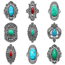 10 pcs Wholesale Lot Mixed Turquoise Rings Antique Silver Plated Fashion Jewelry