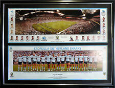 Cronulla Sharks 2016 NRL Premiers Dual Panoramics Ground and Team Shot Framed