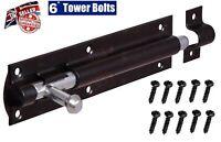 """6"""" SECURITY TOWER BOLT SLIDING BLACK DOOR GATE BOLT SHED HEAVY DUTY SLIP"""