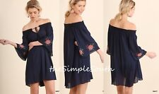 NWT UMGEE Navy Floral Embroidered Bell Sleeve Off-The-Shoulder Tunic Dress M