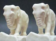 2 Vintage 1926 Rookwood Elephant Bookends Art Pottery Ivory Matte 2444D Set,Pair