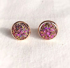 ROSE GOLD SPARKLING DRUZY RESIN PINK/GOLD ROUND STUD EARRINGS 12MM