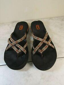 Teva Olowahu Mush Sandals Flip Flop Brown/Cream/Orange Women's Size 9