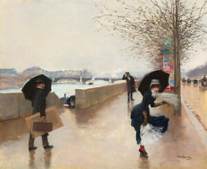 The Wind Jean Beraud Fine Art Print on Canvas Painting Giclee Reproduction Small