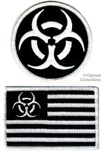 LOT 2 ZOMBIE HUNTER PATCHES embroidered iron-on NUCLEAR BIOHAZARD AMERICAN FLAG