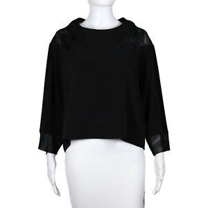 Planet Lauren G Grossman Black Boxy Cropped Top Lagenlook Mesh Trim Shirt OS