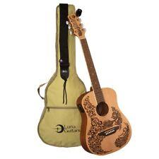 Luna Safari Henna Paradise Acoustic-Electric Travel Guitar Pack with Gig Bag ++