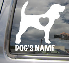 Beagle Dogs Heart Love - Custom Text Puppy Car Window Vinyl Decal Sticker 01106