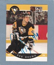 1990 PRO SET ROB BROWN AUTO SIGNED CARD PITTSBURGH PENGUINS RARE