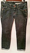 DKNY Women's Junior's Jeans Cuffed Dark Wash Straight Leg Stretch Jeans Size 7