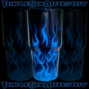 Airbrushed Tumbler Cup Blue Fire Flame Jaymz Triple Six Artistry 30 oz