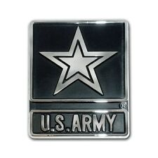 US Army Chrome Metal Auto Emblem Car Decal Sticker Star Logo Made in USA New