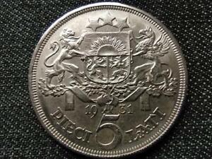 Latvia 5 Latu .835 Silver Coin 1931