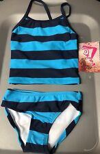 Nwt Kanu Surf Blue Stripe Layla Bikini 2piece Swim Suit Size 2T